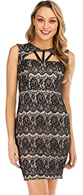 This little black dress will make you the spotlight! Sexy Sleeveless Crewneck Round Neck Strappy Caged Cut Out Cutout Hollow Out Front Zipper Zip Back Floral Lace Spliced Splicing Panel Decorated Decoration Insert Blocked Mini Bodycon Wiggle One Step...