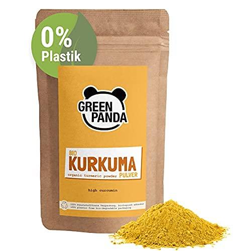 Green Panda© curcuma en polvo organica, probada y certificada en laboratorio, curcuma organica molida extra fine, perfecta para la leche dorada, 500g