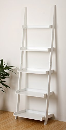 "9. eHemco 5 Tier Leaning Ladder Book Shelf in White Finish 21-5/8""W X70""H"
