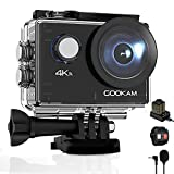 GOOKAM Caméra Sport 4K WiFi 20MP Ultra HD, Étanche 40M 170°Grand-Angle 2.0 '' LCD avec Microphone Externe 2.4G Télécommande, Caméra d'Action avec 2...