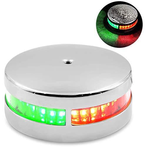 Boot Navigationslicht, Marine LED Navigationslichter zweifarbiges Buglicht LED-Navigationslichter Wasserdichtes rotes und grünes Segellicht aus rostfreiem Stahl zur Bodenmontage