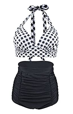 Material: 82% Nylon, 18% Spandex,Liner 100% Polyester.Classy high quality fabric, super soft, stretchy and lightweight.Very comfortable to wear Adjustable self-tie halter neck with a clasp hook closure on the back, padded push up bra with adjustable ...