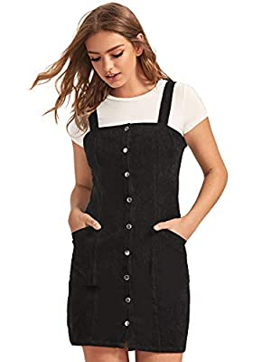 Material: Corduroy, 85% Polyester, 15% Soft material, soft and comfy. No Stretch. Feature: button front closure, strap, pockets, solid, above knee length, slim fit, corduroy jumper dress, overall dress, pinafore dress Cute dress, easy to pair it t-sh...
