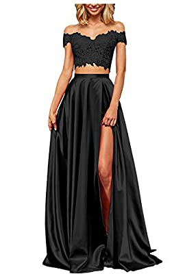 Cute a-line two piece off the shoulder long pleated satin prom dresses with slit lace appliques formal evening party gown. Dress making time is about 4-6 days,shipping time is about 7-10 days,if your time is urgent,please feel free to contact us ,we ...