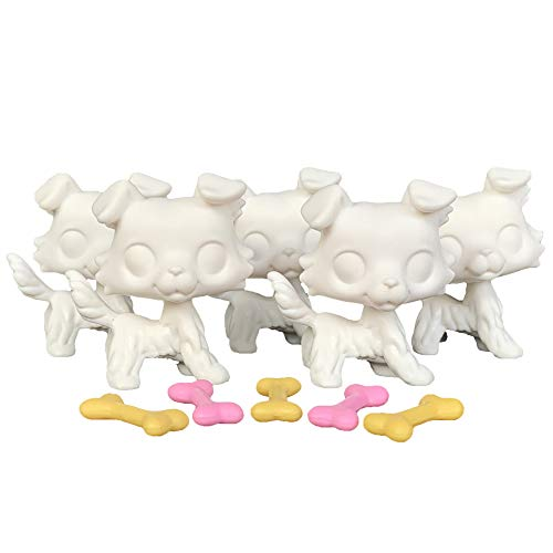 LPSCB 5pcs/Lot White Base for Pet Shop Dog Collie Custom DIY Paint Design Your Pet (Pink)
