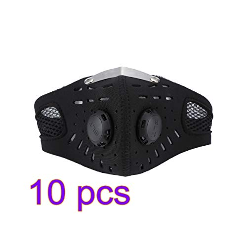 qiaoW New 10PCS Masks, Sports Masks, Warm Windproof Masks, Mouth Nose Protection, Activated Carbon Filter Masks Black Unisex