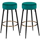 Duhome Set of 2, Modern Round Velvet Bar Stools, Height 31 Inches, Kitchen Breakfast Round Dining Chair Height for Coffee Shop, Bar, Home Balcony(2pcs, Atrovirens)