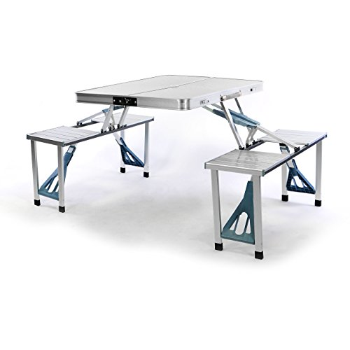 Nexos Sitzgruppe Camping Aluminium Tisch 4 Hocker Stuhl...