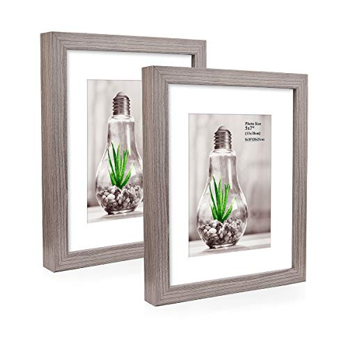 Metrekey 2er Set Bilderrahmen 20x25 cm Grau Holzmaserung aus MDF für Bildformate 13x18 cm mit Passepartout,Wandhängend oder Freistehen