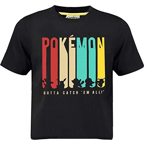 Pokèmon Camiseta Pikachu para Niños | Top Negro con Charmander, Eevee, Squirtle, Bulbasaur, Pikachu | Camisetas De Manga Corta para Niño (9/11 años)