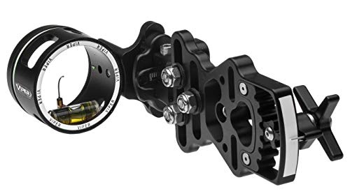 VIPER Archery Sidewinder Compound Bow Sight - Made in USA - Machined Aluminum - Bright Fiber-Optic Single Pin, Toolless Quickset Gear-Drive Elevation Adjustment, 0.010 Pin