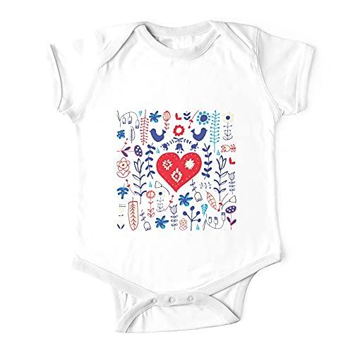 Huang Scandi - Tutina per neonato con motivo floreale, colore: Bianco bianco 2 mesi