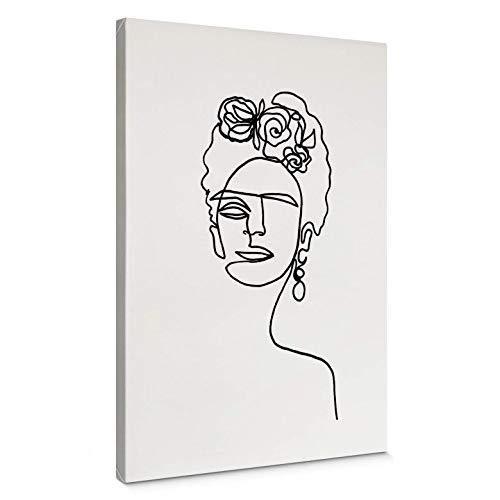 WTD - Lienzo decorativo (marco de 4 cm), diseño de Julia Hariri Frida Kahlo, Negro, 130x200 cm