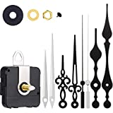 Clock Motor Movement Wall Clock Movement Mechanism DIY Repair Parts Replacement with 3 Different Pairs of Hands (0.9 Inch Shaft, Black White)