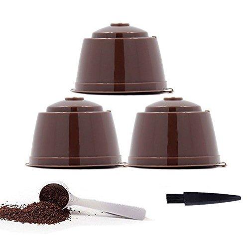 YISER - Capsula / filtro per macchina da caffè, ricaricabile, riutilizzabile, colore marrone, per caffettiera Dolce Gusto, confezione Confezione marrone