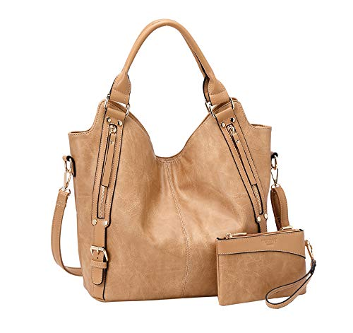 """419Zb82YcRL Quality Material: High Quality Anti-Scratch PU Leather Hobo Tote Womens Purse Handbag. Distinctive Design: Zipper Closure ( Hardware is Gold ) & Adjustable and Removable Shoulder Strap. DIMENSION: DIMENSION - 1.Tote Bag Size : Medium Size: 12""""at Bottom(rise to 17.5"""" at top) x 12.5"""" x 5.3""""(W x H x D),Large Size:13.5""""at Bottom(rise to 19.8 """"at top) x 14.2"""" x 6""""(W x H x D) 2.Wallet Clutch: 7.1"""" x 5""""(W x H). Please refer to the size before you purchasing. Thanks for your kindly."""