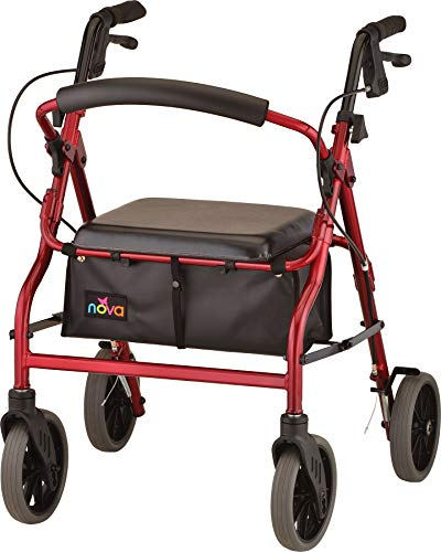 NOVA Medical Products Zoom Rollator Walker with Seat Height, Red, 20 Inch