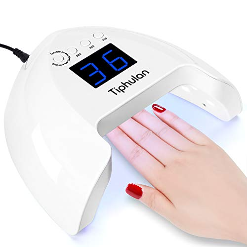 UV LED Nail Lamp, Tiphulan 54W Led Nail Dryer, Dual Light Source Curing UV LED Nail Polish, Upgraded Memory Function, Professional Gel Nail Light with 4 Timer/Auto Sensor, for Home and Salon -2020 New