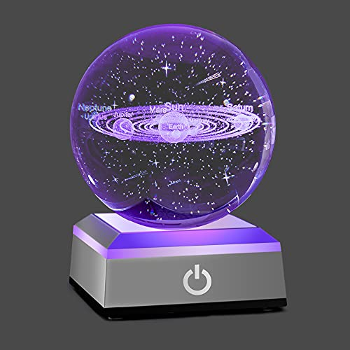 HOCHANCE 3D Solar System Crystal Ball with LED Colorful...