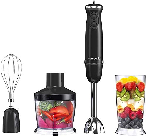 homgeek Frullatore ad Immersione, Mixer a Immersione Professionale 4 in 1, 6 Velocit Regolabile...