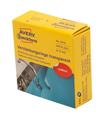 AVERY Zweckform Art. 3510 Lochverstärkungsringe (Lochverstärker, selbstklebend, Ringverstärker, Ringlochverstärker, Ø 13 mm) 500 Stück transparent