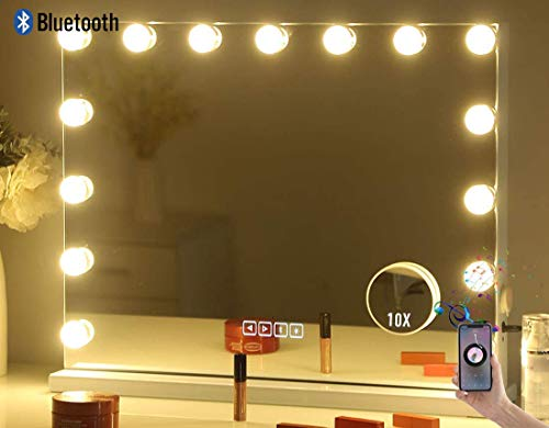Hansong Large Bluetooth Vanity Makeup Mirror with Lights,Hollywood Lighted Dressing Tabletop Mirror&Wall Mounted Beauty Mirrors with 15 pcs Led Bulbs,Detachable 10X Magnification Spot Cosmetic Mirror