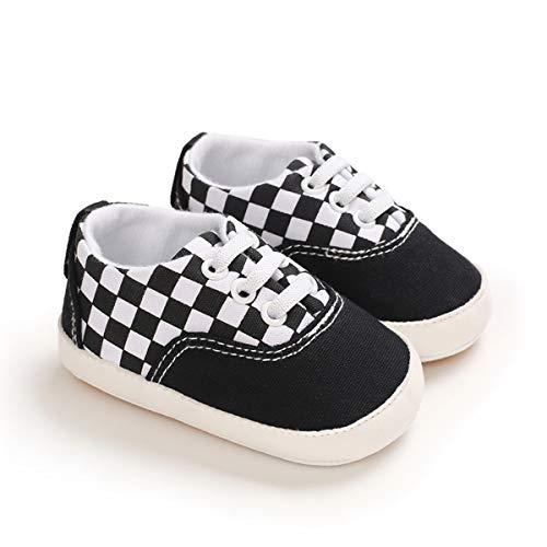 DEBAIJIA Bebé Primeros Pasos Zapatos de Lona0-6M NiñosAlpargata Suave Antideslizante Ligero Slip-on 17 EU Negro (Tamaño Etiqueta-1)