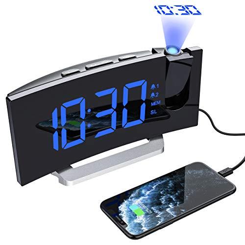 Mpow Projektionswecker, FM Radiowecker mit Projektion, LED Wecker Digital, Reisewecker, Tischuhr, Projektionsuhr, 5\'\' LED-Anzeige, Dual-Alarm, 6 Helligkeit, 4 Alarmton mit 3 Lautstärke, 9 \' Snooze