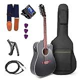 Vangoa 12 Strings Guitar Acoustic Electric Cutaway, Black 41 Inch, 4-Band EQ with Beginner Kit