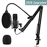 2020 Upgraded USB Microphone for Computer, Mic for Gaming, Podcast, Live Streaming, YouTube on PC, Mic Studio Bundle with Adjustment Arm Stand, Fits for Windows & Mac PC, not for Phone, Plug & Play