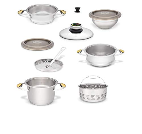 Zepter Masterpiece CookArt - Set da cucina Junior, 14 pezzi, cottura a vapore, cottura rapida, regolatore di temperatura, sistema di cottura a pressione per pentole Zepter
