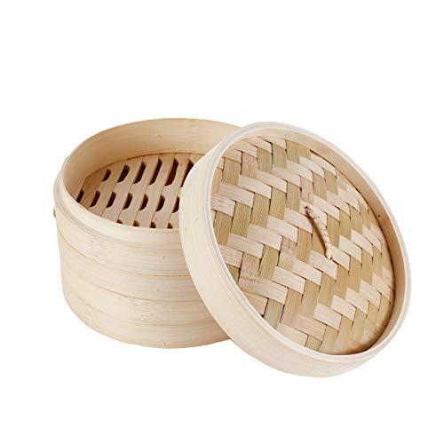 HANHAN Vaporiera in bambù Naturale, Cestello Cottura a Vapore 2 Livelli con Coperchio, Ideale per Ravioli, Verdure e Dim Sum (21CM)