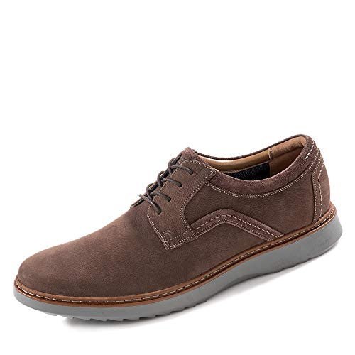 Clarks Un Geo Lace, Zapatos de Cordones Derby para Hombre, Marrón (Dark Brown Nubuck), 42.5 EU