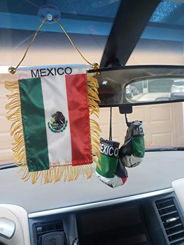 Rainbow Trading Flag and Boxing Gloves Combo Car Rear-View Mirror Office Decor (Mexico)