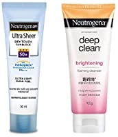 Quantity: 30ml Leaves skin soft and smooth Oil-free, Waterproof, sweatproof, resists rub-off Skin Type: All Skin Types Features: SPF 50+ sunscreen to help prevent sunburn. Leaves skin soft and smooth Neutrogena deep clean brightening foaming cleanser...