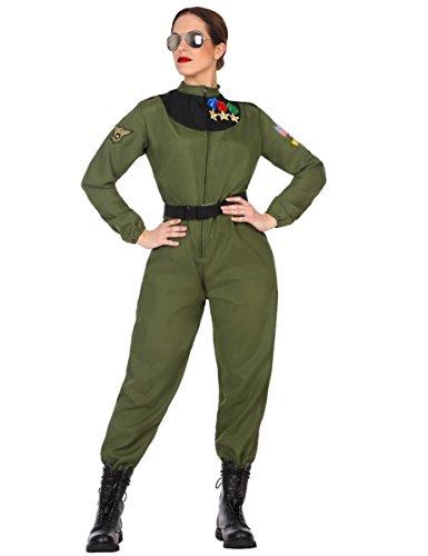 Atosa-50879 Disfraz mujer militar piloto, color verde, M-L (50879) , color/modelo surtido