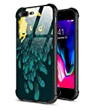 iPhone 8 Plus Case,iPhone 7 Plus Case,Slim Fit Tempered Glass Back Pattern Design+Shock Absorption Bumper Protective Case Compatible iPhone 7/8 Plus Owl Feathers