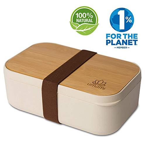 Umami® ⭐ Brotdose EcoloChic™ Natur & Bambus | Bento Lunchbox Bambusfaser | 1000 ml | 4-teiliges Besteck | BPA-frei | Erwachsene & Kinder | Spülmaschinen- Und Mikrowellenfest | Zero Waste | Meal Prep