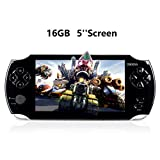 JHSD Handheld Game Console, Portable Video Game Console, 16GB 5 'Screen Built-in Classic Games, Support Multiple Game formats, Black