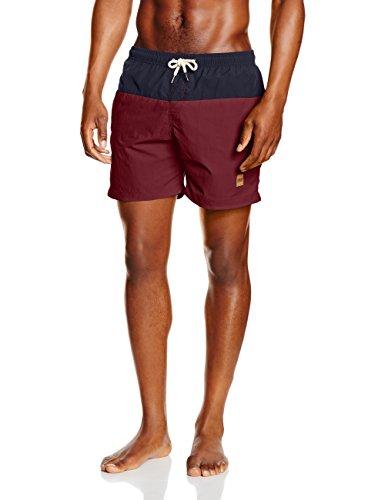 Urban Classics Block Swim Shorts Bañador, Multicolor (Nvy/Burgundy), Medium para Hombre