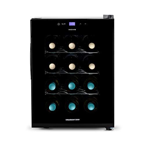 CREATE IKOHS WINECOOLER M - Cantinetta da 12 bottiglie, 33 l, 70 W, luce LED, display digitale, 3 ripiani, doppio isolamento, zone di temperatura di 11-18 gradi, ripiani in acciaio inox