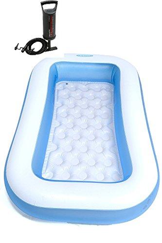 Anokhichaabi Combo-Intex 6 Ft Inflatable Bath Tub with Pump (White)