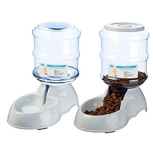 XIAPIA Automatischer Futterspender & Wassertränker im Set 3,8 L x 2 für Hunde Kartz Welpen, Haustier Futterautomat