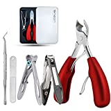 Thick Toenail Clippers, Podiatrist Toe Nail Clippers for Ingrown & Thick & Men & Seniors Toenail and Nail Surgical Grade Stainless Steel Toenail Trimmer Nipper (Red)