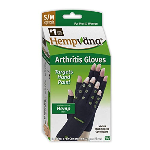 Hempvana Arthritis Compression Gloves - Fingerless Gloves Made with Hemp Plant Fibers - Support for Wrist & Hands (S/M)