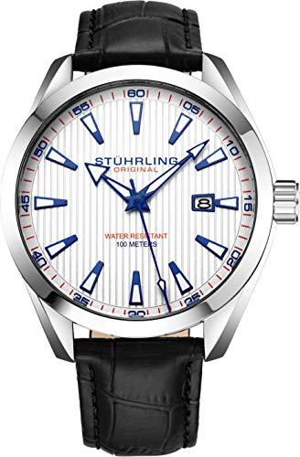 Stuhrling Original Herrenuhr Analoges Zifferblatt mit Datum - Kalbsleder-Lederband oder Edelstahlarmband, 3953 Uhren für Herren Kollektion (Leather/White)