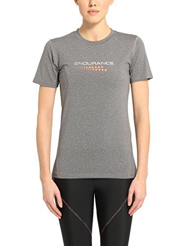 Ultrasport Damen Laufshirt Endurance Carbona Kurzarm T-shirt, Grau Melange, 42