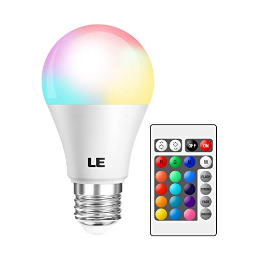 LE RGB Color Changing Light Bulbs with Remote, Dimmable 40 Watt Equivalent Warm White, A19 E26 Screw Base for Home Dcor, Bedroom, Stage, Party and More