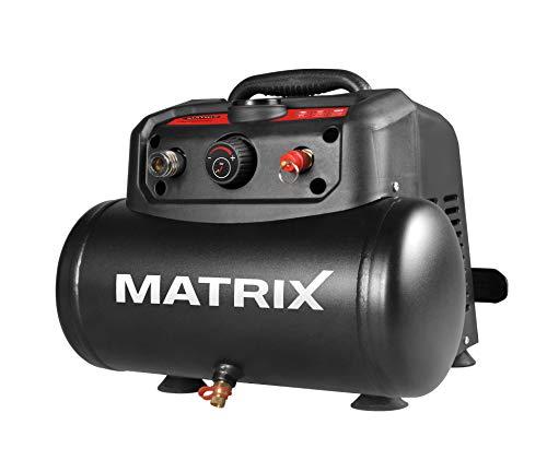 Matrix 240100155 Kompressor, Luftkompressor, Werkstattkompressor 1200W, Ölfreier Motor, 8 Bar, 6 Liter Tank, tragbar, 180 l/min, Schwarz