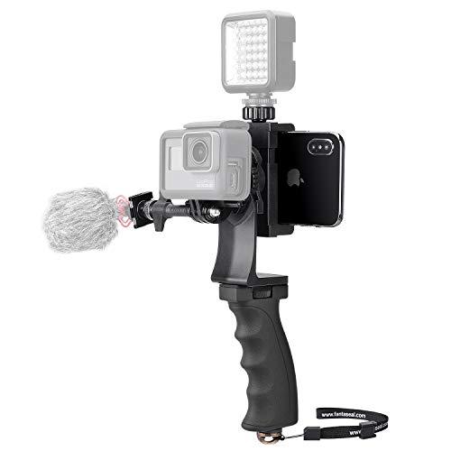 Videocamera portatile 2 in 1 + kit video per telefono, impugnatura ergonomica, stabilizzatore di movimento, supporto per videocamera We-Media Youtube Livestream Vlog Rig